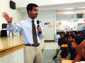 Rep. Carlos Curbelo speaks to fifth graders in Homestead, Fla., where he received thank-you letters from 200 students.